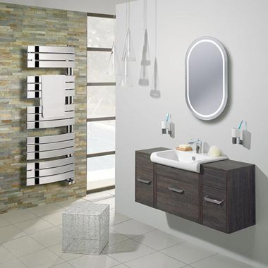 Bauhaus Essence Curved Flat Panel 550 x 1380 Towel Rail in Chrome