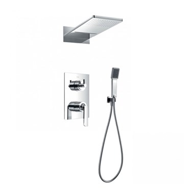 Flova Essence Concealed Manual Mixer Valve with Dual Function Overhead Shower & Handset Kit