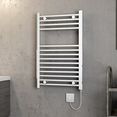 Brenton Apollo Electric Straight Heated Towel Rail - 800 x 500mm - Thermostatic Element