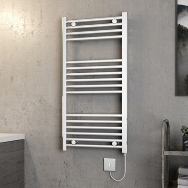 Brenton Apollo Electric Straight Chrome Heated Towel Rail - 1000 x 500mm