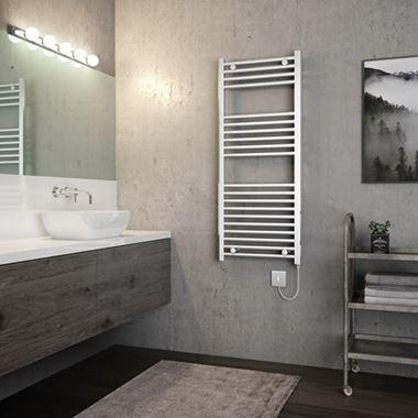 Brenton Apollo Electric Straight Heated Towel Rail - 1200 x 500mm - Thermostatic Element