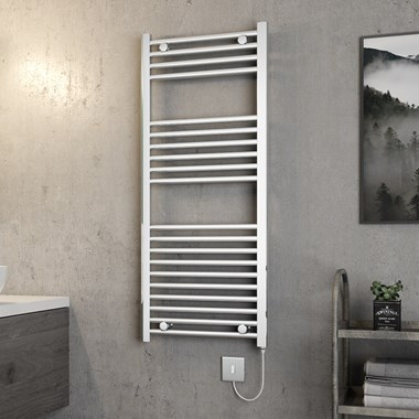 Brenton Apollo Electric Straight Chrome Heated Towel Rail - 1200 x 500mm