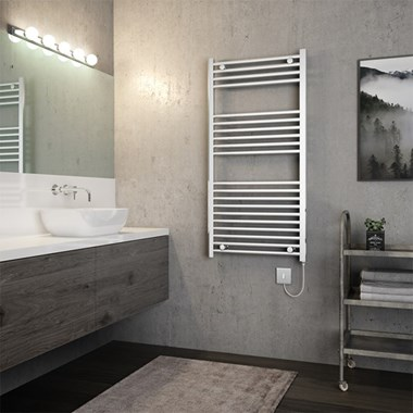 Brenton Apollo Electric Straight Heated Towel Rail - 1200 x 600mm - On/Off Element