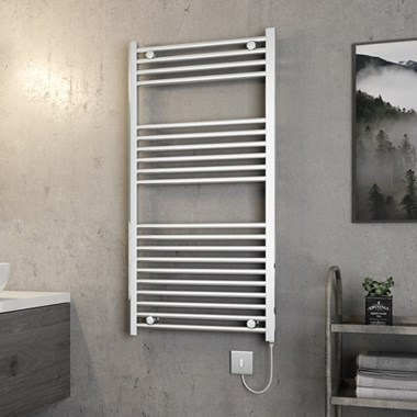 Brenton Apollo Electric Straight Chrome Heated Towel Rail - 1200 x 600mm