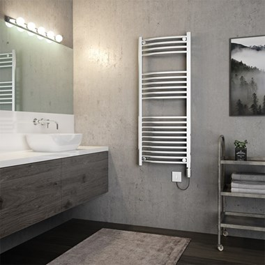 Brenton Apollo Electric Curved Heated Towel Rail - 1200 x 500mm - On/Off Element