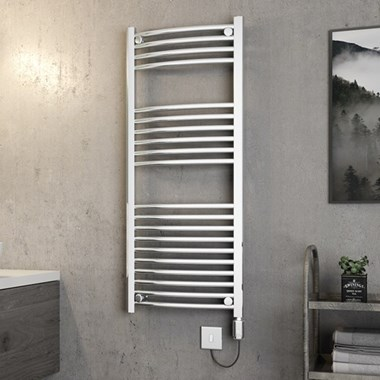 Brenton Apollo Electric Curved Chrome Heated Towel Rail - 1200 x 500mm