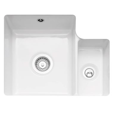 Caple Ettra 1.5 Bowl Undermount White Ceramic Kitchen Sink - 545 x 440mm