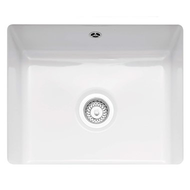 Caple Ettra Single Bowl White Ceramic Undermount Kitchen Sink - 545 x 440mm