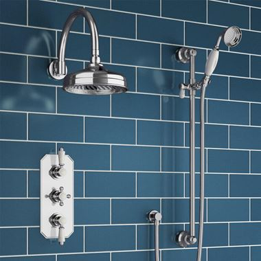 Farne Traditional Concealed Shower Valve with Fixed Shower Head & Slide Rail Kit