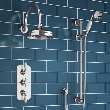 Butler & Rose Edith Concealed Shower Valve, Fixed Shower Head & Slide Rail Kit