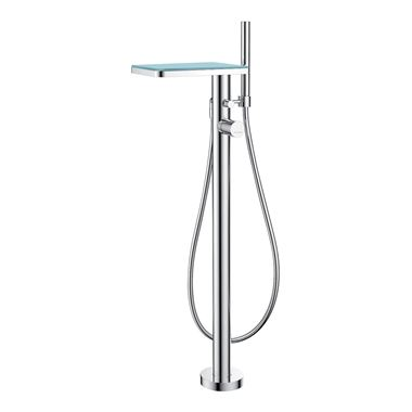 Flova Annecy Glass Floorstanding Single Lever Bath Shower Mixer & Shower Set
