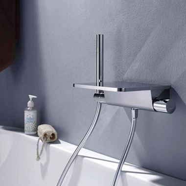 Flova Annecy Wall Mounted Waterfall Bath Shower Mixer with Handset Kit