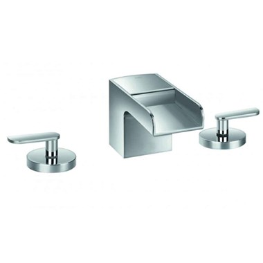 Flova Cascade 3 Hole Waterfall Basin Mixer with Clicker Waste