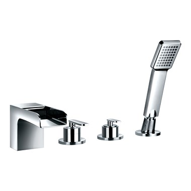 Flova Cascade 4 Hole Bath Shower Mixer & Shower Set