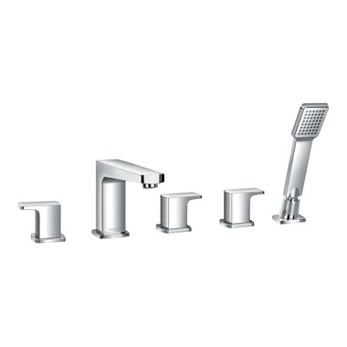 Flova Dekka 5 Hole Bath Shower Mixer & Shower Set