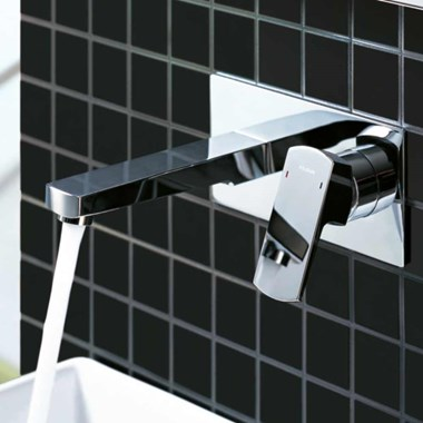 Flova Dekka Wall Mounted Basin Mixer Tap with Clicker Waste