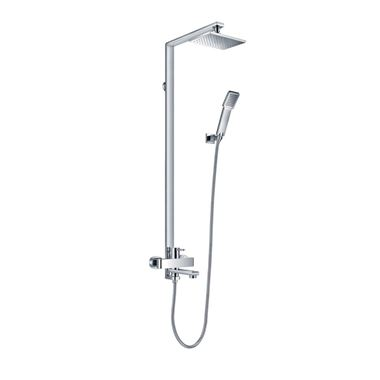 Flova Essence Manual Exposed Shower Column With Hand Shower, Overhead Shower & Diverter Bath Spout