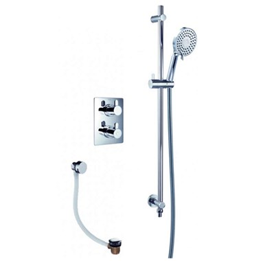 Flova Essence Concealed Thermostatic Mixer Valve with Slide Rail Kit & Bath Overflow Filler