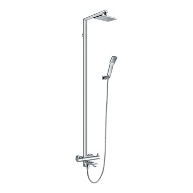 Flova Essence Thermostatic Exposed Shower Column With Hand Shower, Overhead Shower & Diverter Bath Spout