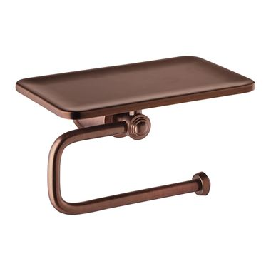Flova Liberty Toilet Roll Holder with Integral Shelf - Oil Rubbed Bronze