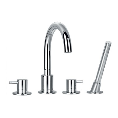 Flova Levo 4 Hole Bath Shower Mixer & Shower Set