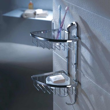 Flova Solid Brass Double Rack with Hooks