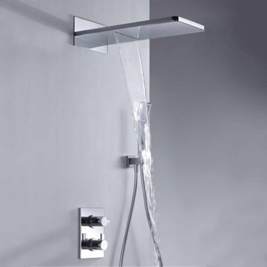 Flova STR8 Concealed Thermostatic Mixer Valve with Dual Overhead Shower & Handset Kit