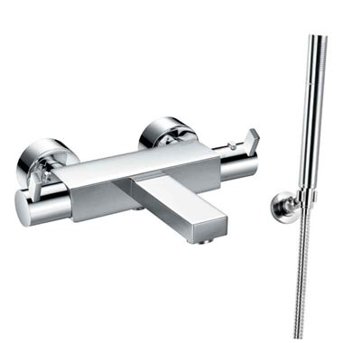 Flova STR8 Wall Mounted Thermostatic Bath Shower Mixer with Handset Kit