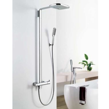 Flova Urban Thermostatic Shower Column with Handset & Dual Function Overhead Shower