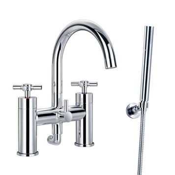 Flova XL Crosshead Deck Mounted Bath Shower Mixer with Handset Kit