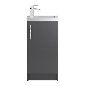 Apollo Compact 400mm Floor Standing Vanity Unit and Basin - Grey