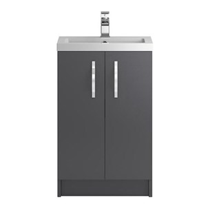 Apollo 500mm Floor Standing Two Door Vanity Unit and Basin - Grey