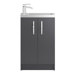 Apollo Compact 500mm Floor Standing Vanity Unit and Basin - Grey