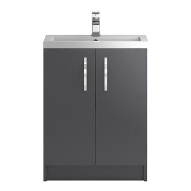 Apollo 600mm Floor Standing Two Door Vanity Unit and Basin - Grey