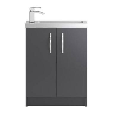 Apollo Compact 600mm Floor Standing Two Door Vanity Unit and Basin - Grey