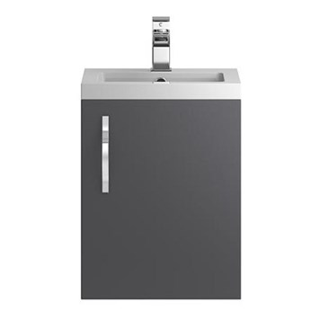 Apollo 400mm Wall Hung Vanity Unit and Basin - Grey
