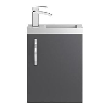 Apollo Compact 400mm Wall Hung Vanity Unit and Basin - Grey