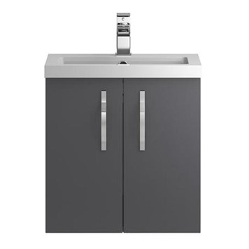 Apollo 500mm Wall Hung Two Door Vanity Unit and Basin - Grey