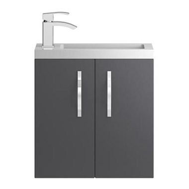 Apollo Compact 500mm Wall Hung Vanity Unit and Basin - Grey