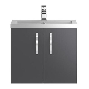 Apollo 600mm Wall Hung Two Door Vanity Unit and Basin - Grey