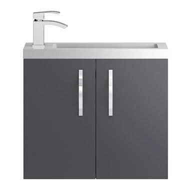 Apollo Compact 600mm Wall Hung Vanity Unit and Basin - Grey
