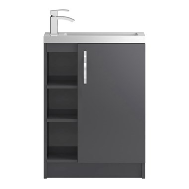 Apollo Compact 600mm Floor Standing One Door Vanity Unit and Basin - Grey