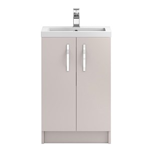 Apollo 500mm Floor Standing Two Door Vanity Unit and Basin - Cashmere