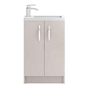 Apollo Compact 500mm Floor Standing Vanity Unit and Basin - Cashmere