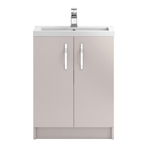 Apollo 600mm Floor Standing Two Door Vanity Unit and Basin - Cashmere