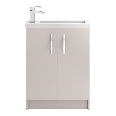 Apollo Compact 600mm Floor Standing Two Door Vanity Unit and Basin - Cashmere