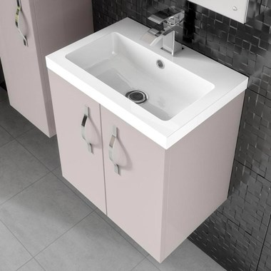 Apollo 500mm Wall Hung Two Door Vanity Unit and Basin - Cashmere