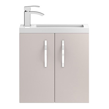 Apollo Compact 500mm Wall Hung Vanity Unit and Basin - Cashmere