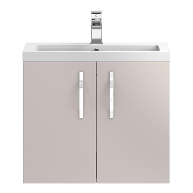 Apollo 600mm Wall Hung Two Door Vanity Unit and Basin - Cashmere
