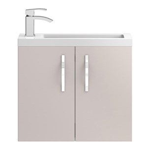 Apollo Compact 600mm Wall Hung Vanity Unit and Basin - Cashmere